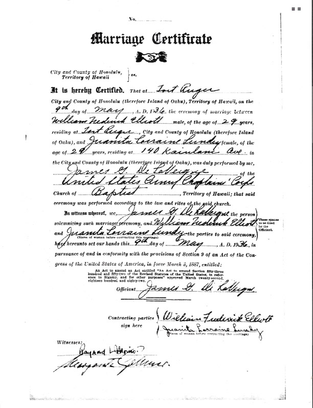Juanita Sheridan's marriage certificate